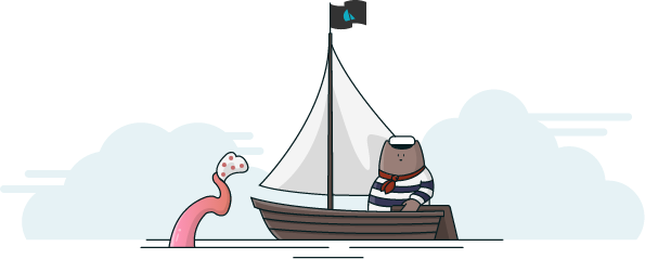 A tentacle emerges from the water, waving at a bearkat in a sailboat